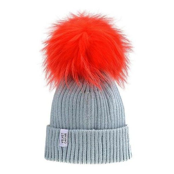 Lux Gray Beanie Neon Orange Pom ($45) ❤ liked on Polyvore featuring accessories, hats, pom pom beanie, fur beanie hat, grey beanie hat, beanie cap and grey hat