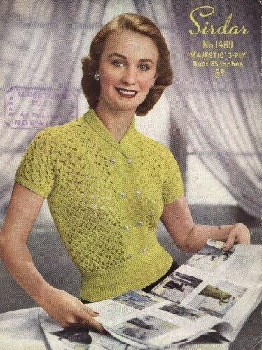 Sirdar Vintage Knitting Pattern 1469 : Lady's Lacy Jumper (35in bust) (Sirdar Majestic 3ply) by Sirdar, http://www.amazon.co.uk/dp/B009BMKTAO/ref=cm_sw_r_pi_dp_2MjOrb0QP8F2A