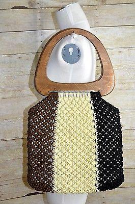 Vintage-70s-Style-Large-Macrame-Big-Bag-with-Wood-Handles-Hippie-Boho-EUC