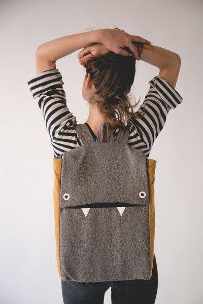 Gray and mustard monster laptop backpack – a unique product by marinsss on DaWanda. Via en.DaWanda.com.