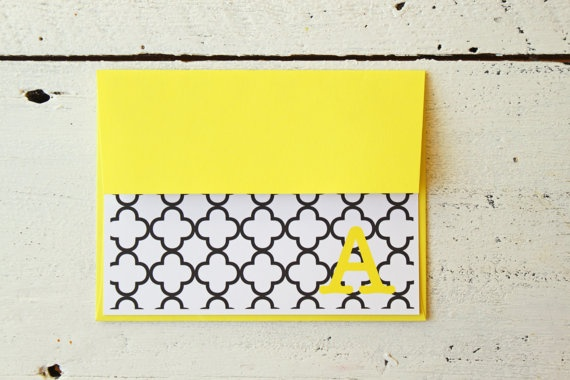 Personalized Stationary Bright Yellow and Black Custom Stationery Black and White Quatrefoil Moroccan Trellis Initial Note Cards- Set of 10. $13.00, via Etsy.