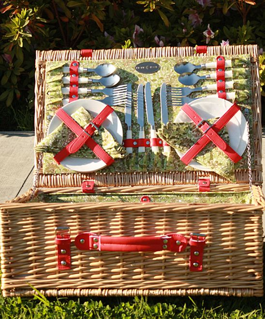 Red Honeysuckle Willow Picnic Basket Set