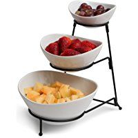 Gibson 3 Tiered Oval Chip and Dip Set with Metal Rack, Three Tier Dessert and Snack Server