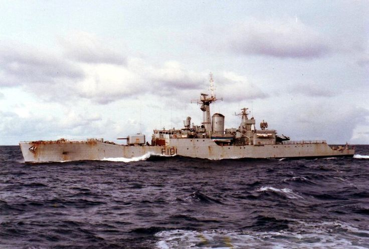 "HMS Yarmouth(F101) at sea in Falklands War, 5th June '82. The first modified Type 12(Rothesay Class) Frigate to enter service. Built by John Brown & Co & commissioned 26/03/60. Saw service in the Cod Wars and Falkland War. Decommissioned 30/04/86. Heavily modernised during refit in '66, she was armed with 2x4.5"" Mk 6 guns, a quad Seacat SAM launcher, a Limbo mortar & 2x20mm Oelikons. Had hanger space to carry a Wasp Chopper."