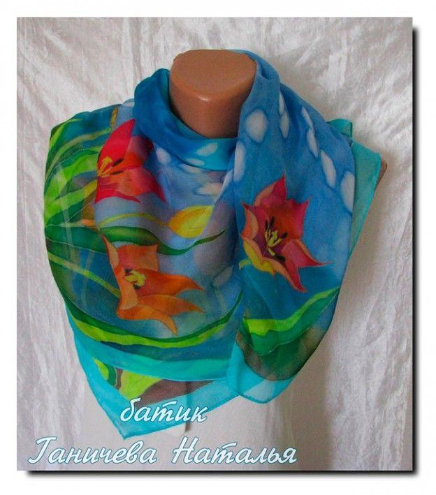платок Кефинские тюльпаны, 90х90. шелк-фуляр, холодный батик, парозакрепляемые профессиональные красители, подшит вручную. продан, возможен повтор на заказ