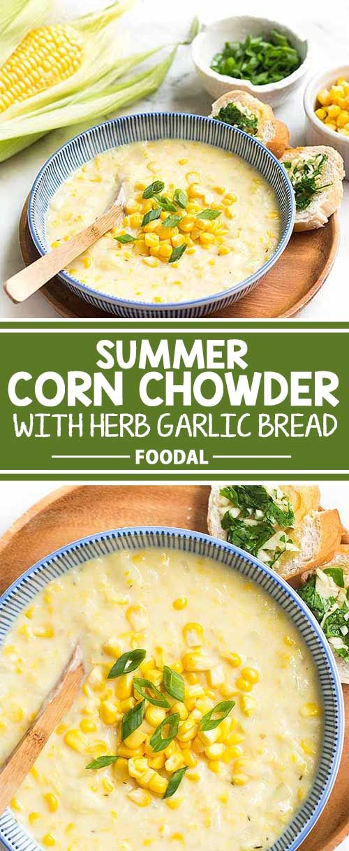 If you love corn, then you're definitely going to enjoy this delicious summer corn chowder. Made with fresh sweet corn, potatoes, and flavorful aromatics, this is one soup that will keep you full and satisfied. Serve it alongside a few slices of herb garlic bread and you'll have one happy belly! Get the recipe from Foodal now!