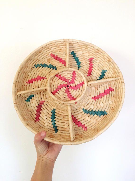 coiled wicker lazy susan / southwestern style basket / rattan