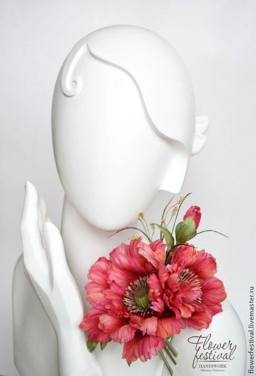 """Silkflowers. Цветы ручной работы. Ярмарка Мастеров - ручная работа Оксаны Чистовой. Мак из шелка """"Лето красное"""". Цветы из шелка. Handmade."""