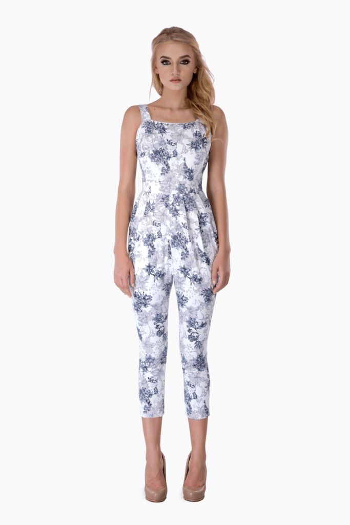 White Grey Floral Jumpsuit – Mojau