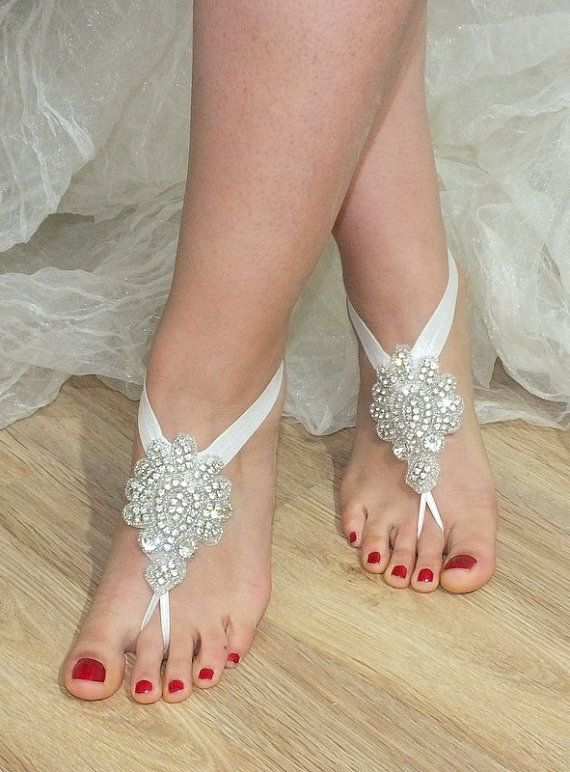 ༻✿༺ ❤️ ༻✿༺ Rhinestone anklet Beach wedding barefoot sandals // by WEDDINGGloves, $45.00 ༻✿༺ ❤️ ༻✿༺
