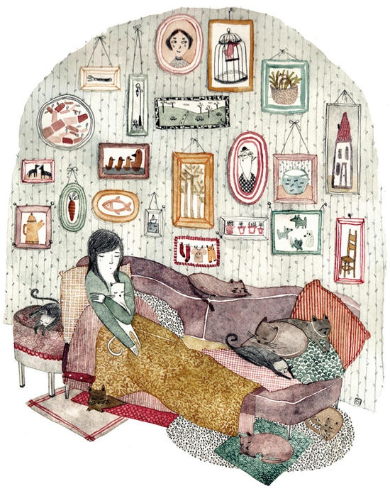 art, spot illustration, interior, cat, figure, woman,