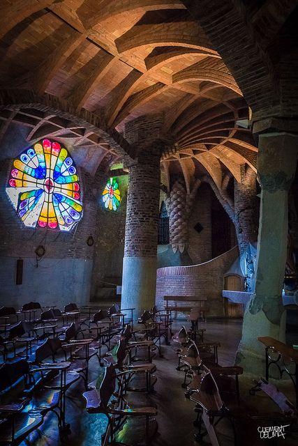 Colonia Güell Church by Gaudi, Barcelona