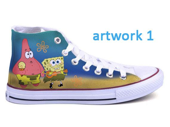 Spongebob Converse Shoes by BifrostShoes on Etsy, $60.00