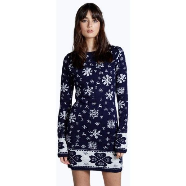 Boohoo Lucy Heart Border Snowflake Christmas Jumper Dress featuring polyvore, fashion, clothing, tops, sweaters, navy, knit sweater, navy sweater, sequin sweater, navy blue sweater and blue sweater