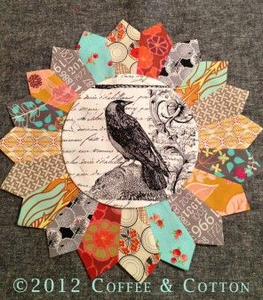 Nevermore... Great Dresden plate - idea for bird fabric for Nancy's pillows