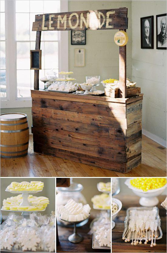 lemonade standLemonade Stands, Ideas, S'Mores Bar, Yellow Wedding, Parties, Rustic Chic, Wedding Reception, Kids, Rustic Wedding