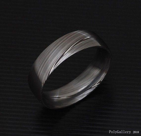 Echte roestvrij staal van Damascus Mens Ring PD15 door polygallery