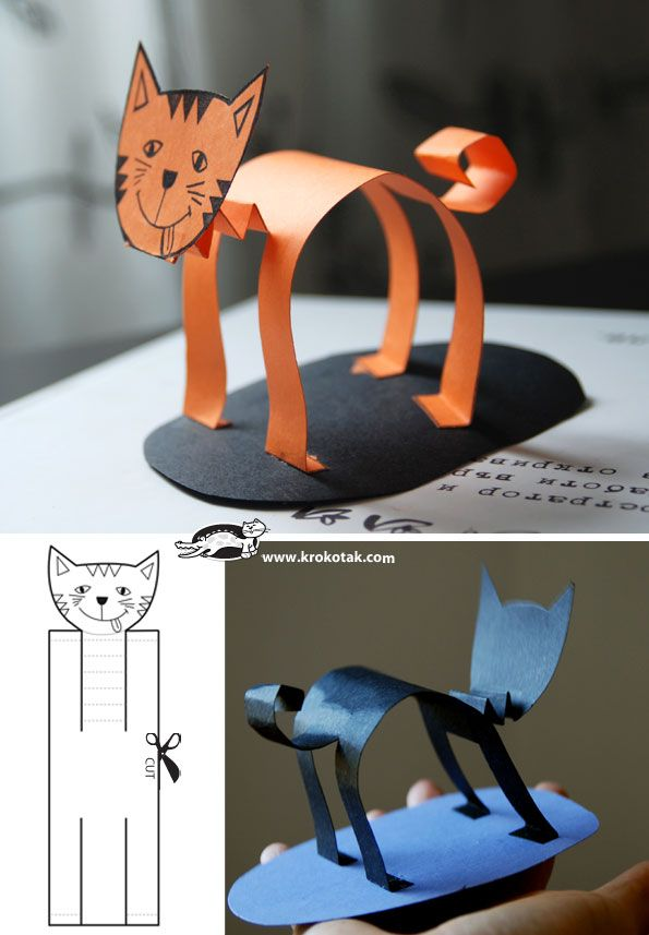 How to Make 3 Paper Cats by krokotak #Kids #DIY #Paper_Crafts #Cat