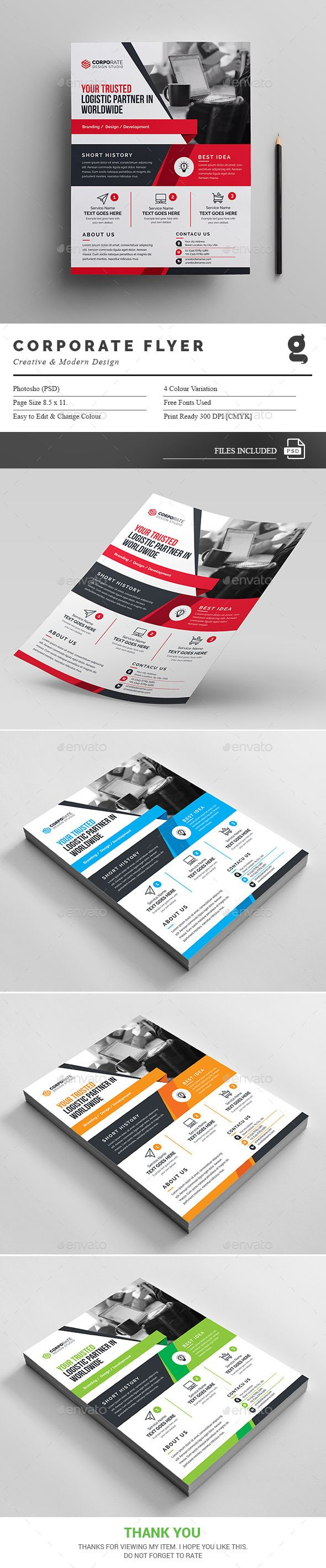 Corporate Modern Flyer Design - Modern Flyers Template PSD. Download here: https://graphicriver.net/item/creative-flyers/16932988?s_rank=50&ref=yinkira