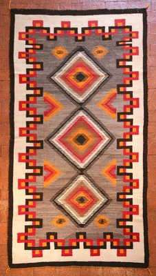 "Navajo Ganado Textile c.1920 84 "" x 48 "" Made with re-fashioned clothing, this would be so cool."