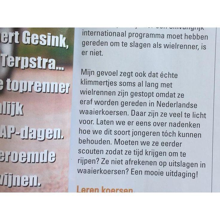 Een grote yes voor de klimmers! Mooi stuk van @peterzijerveld in de #wielersport van de @knwunederland die de uitdaging wil aangaan om meer klimtalent bij de jongeren te behouden. Ik zeg: fietspaden op die afvalbergen! Dutchmountains!