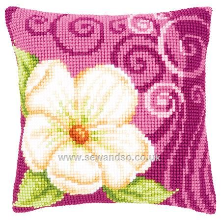 Buy Single Cream Flower Cushion Front Chunky Cross Stitch Kit online at sewandso.co.uk