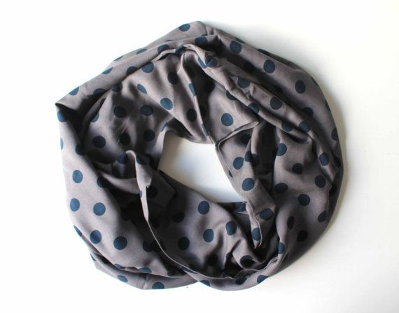 gray polka scarfprint scarflong by starshopboutique on Etsy