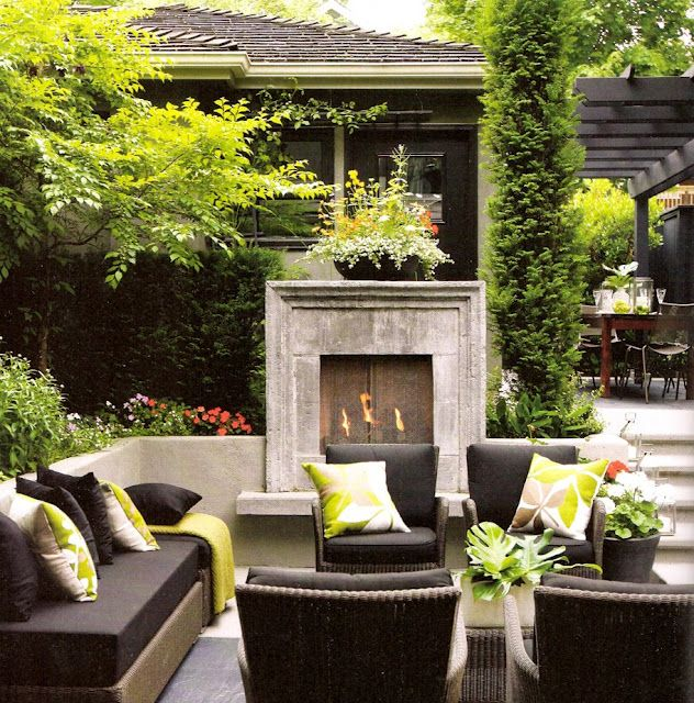 outdoor living space with fireplace #tregloves