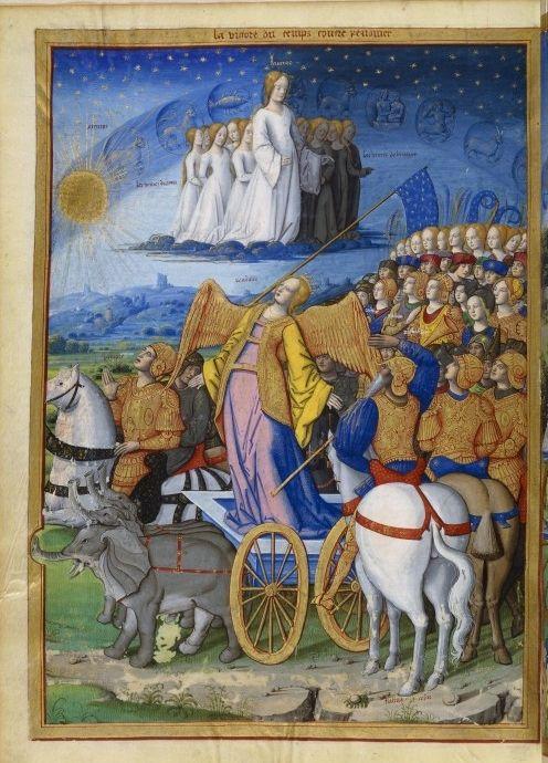 Francais 594, fol. 348v, Allegorie. victoire du Temps - Category:I Trionfi (Français 594) - Wikimedia Commons