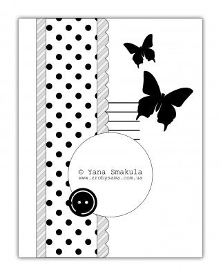 Card Sketch papillon