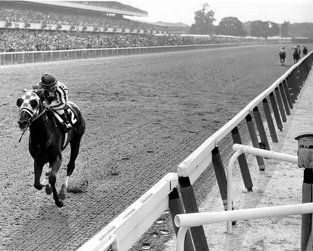 This one happens to be Secretariat winning the Belmont Stakes by 31 lengths in 1973.  WHEW!