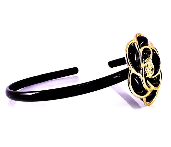 Bizsu Kiegészítők Rózsás hajpánt fekete arany