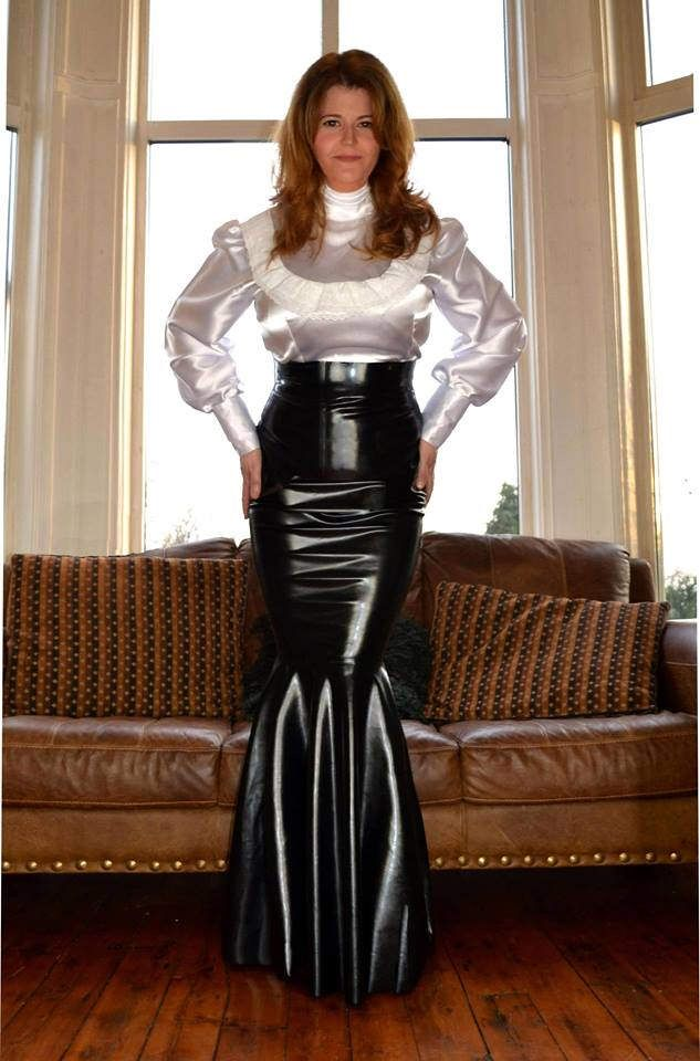 Billowing satin blouse fetish david 15