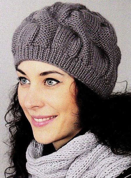 Модная шапка связанная спицами