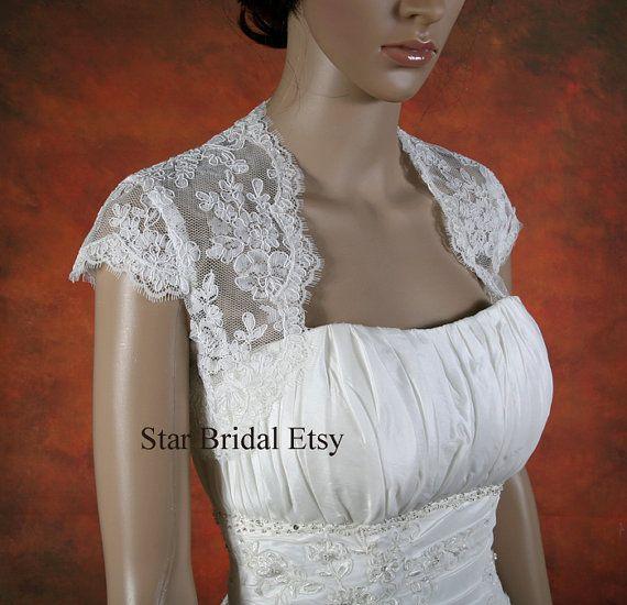Ivory Cap Sleeve Lace Wedding Jacket Bridal Bolero by StarsBridal