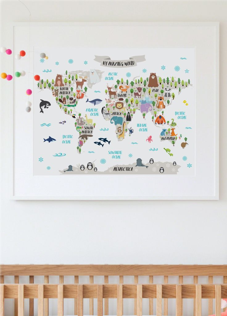 Printable animal world map kids world map poster nursery world map printable animal world map kids world map poster nursery world map baby room map kids map art animal nursery decor unique baby gift by printasticst sciox Choice Image