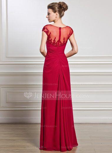 Tubo Decote redondo Longos Tecido de seda Vestido para a mãe da noiva com Pregueado Beading Apliques de Renda lantejoulas Frente aberta (008056834) - JenJenHouse