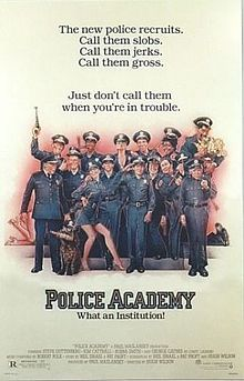 "Call a real cop: When the mayor opens the police academy to any social misfit, they apply - a slacker (Steve Guttenberg), a gun-ho shooter (David Graf), a noisemaker (Michael Winslow), a tall guy (Bubba Smith). Can Lassard whip them into shape (George Gaynes)? Over Harris' dead body (G.W. Bailey)! Directed by Hugh Wilson (""WKRP""). Written by Pat Proft and Neal Israel with Wilson."