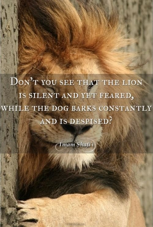 The lion is silent yet feared..  - www.lionofAllah.com