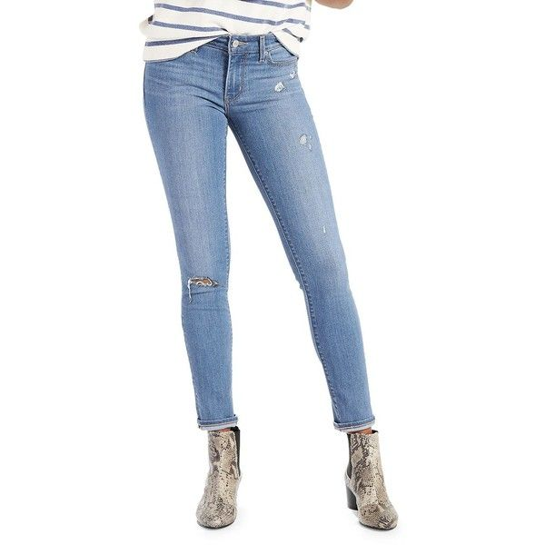 Levi's Women's Excursion Skinny Jeans ($36) ❤ liked on Polyvore featuring jeans, light blue, light blue skinny jeans, blue ripped jeans, slim fit jeans, blue ripped skinny jeans and levi skinny jeans