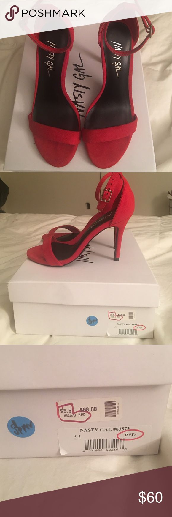 Nasty Gal Red Heeled Sandals Never worn. Missed the return date and they've been sitting in my closet since. I wear size 5.5-6. Please no low ball offers. These are brand new heels. Just trying to get back what I paid. Nasty Gal Shoes Heels