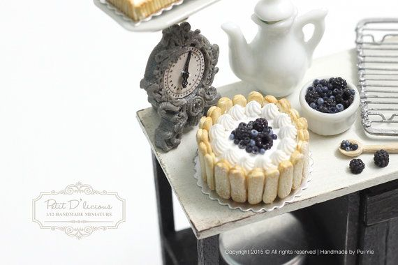 Wild Bluberry-Blackberry Charlotte Cake in 1/12th by PetitDlicious