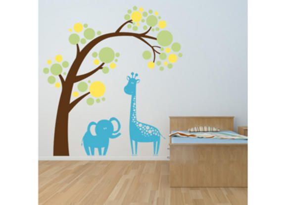 See a slideshow of some stylish wall decals as low-fuss, high-impact nursery decoration.