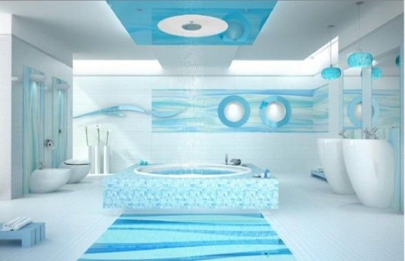 Modern Bathroom Designs Yield Big Returns In Comfort And: Attractive Bright Sky Blue And White Bathroom Interior