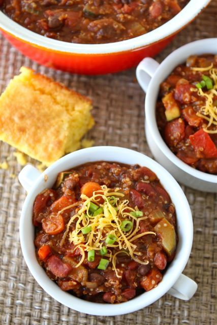 Vegetarian Quinoa Chili Recipe on twopeasandtheirpod.com Our favorite chili recipe! #chili #vegetarian