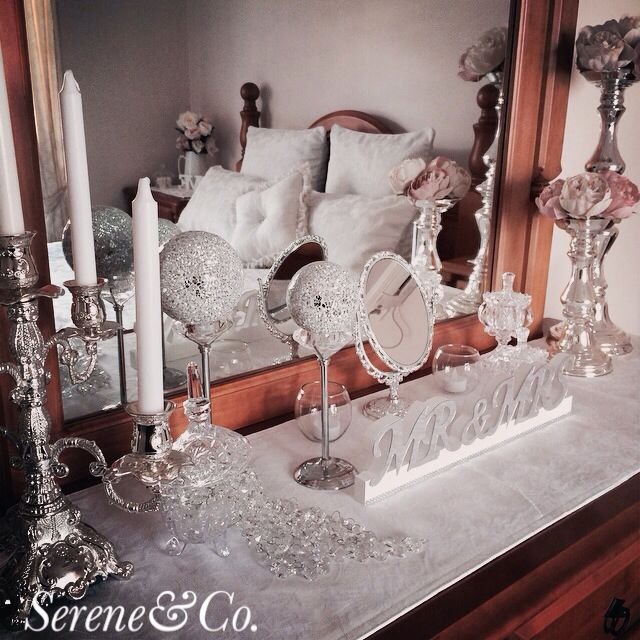 Bridal bedroom dresser decor