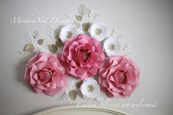 Custom orders are welcomed! Use this gorgeous large paper flower backdrop for your little girls nursery, toddler room, playroom, home decor, boutique store front, wedding, or for a special event such as baby shower, newborn or birthday photoshoot or over a delicious dessert/buffet