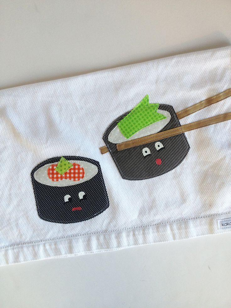 Second Anniversary Sushi Cotton Kitchen Towel -  Wedding, New Home, Anniversary Gift, Valentine's Day by kakabaka on Etsy https://www.etsy.com/listing/173247673/second-anniversary-sushi-cotton-kitchen