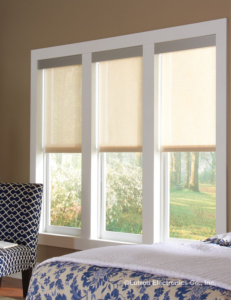 In beautiful unison, Lutron motorized shades always track together. www.lutron.com/shades