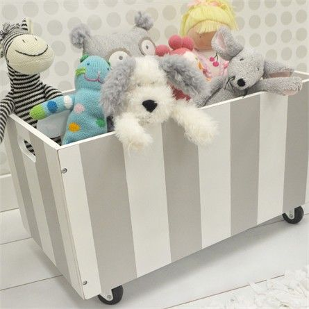 Perfect for storing books and toys, the Gray Stripe Wooden Toy Crate from New Arrivals Inc will help keep your little one's room tidy and organized!